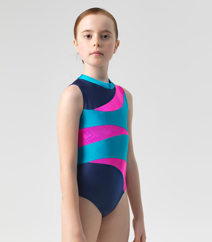 Παιδικό Κορμάκι Ενόργανης Γυμναστικής Τρίχρωμο Λύκρα Με Λεπτομέρειες ... 6a56c43baff